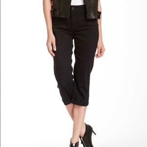 NYDJ Fiona Mini Roll Cuff Crop Black Jeans High